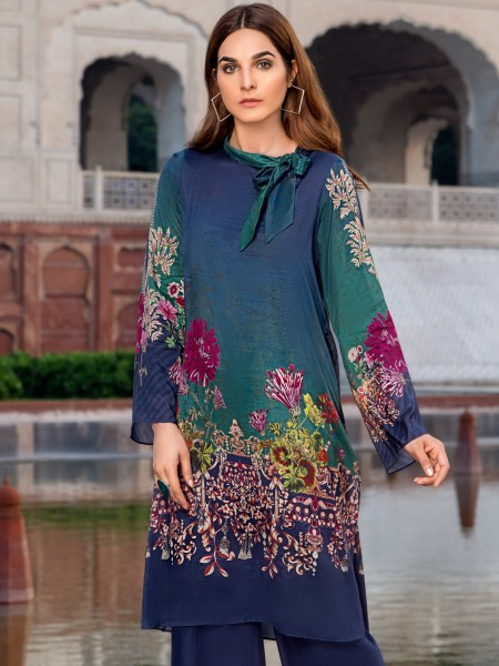 LimeLight Cambric Unstitched Collection Silk Shirt U0844-SSH-BLU