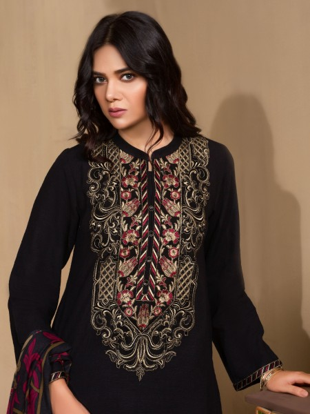 LimeLight Winter19 Unstitched 2-Pc Embroidered Khaddar Suit U0953-2PC-BLK