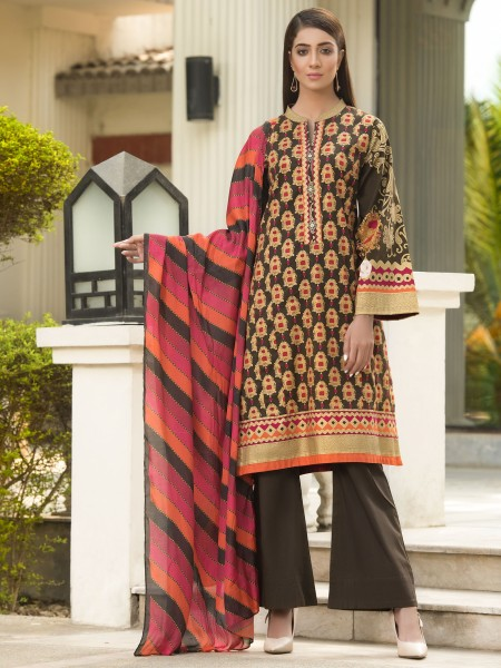 LimeLight Winter19 Unstitched 2-Pc Winter Cotton Suit U0907-2PC-BRN
