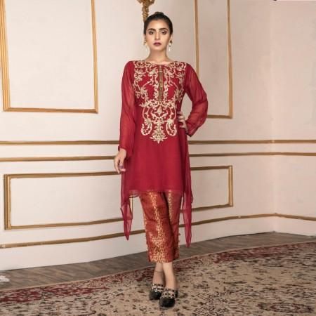 MANNAT CLOTHING Deep Red Fancy MC-015