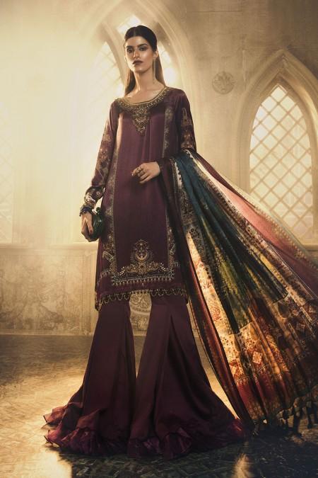 Maria.B Unstitched Silk MSK-403-Purple