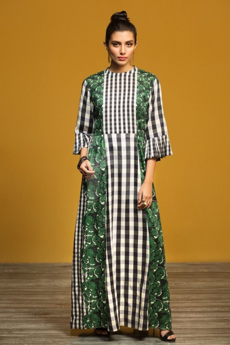 Nishat Linen FW19-13 Green Printed Stitched Micro Modal Long Fusion Dress - 1PC