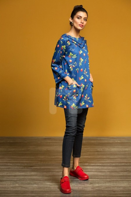 Nishat Linen FW19-14 Blue Printed Stitched Micro Modal Fusion Top - 1PC