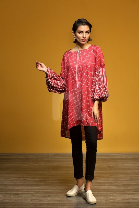 Nishat Linen FW19-15 Red Printed Stitched Micro Modal Fusion Top - 1PC
