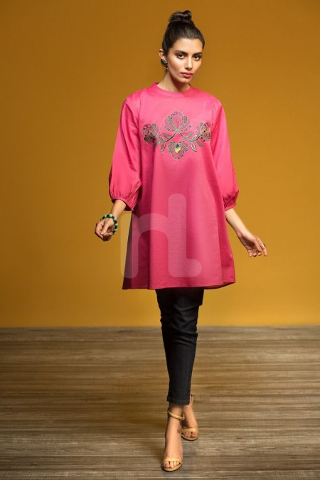 Nishat Linen FW19-17 Pink Dyed Embroidered Stitched Karandi Fusion Top - 1PC