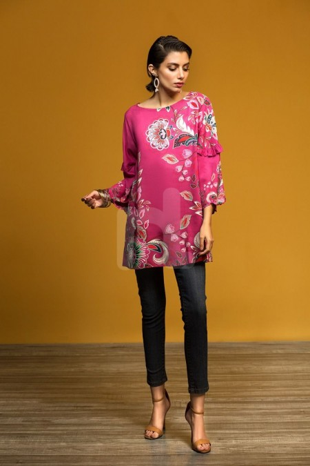 Nishat Linen FW19-20 Pink Printed Stitched Micro Modal Fusion Top - 1PC