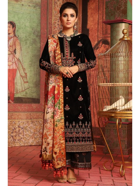 Alkaram Studio Festive 2 Piece Embroidered Suit with Satin Silk Dupatta FC-W10E-19-Black