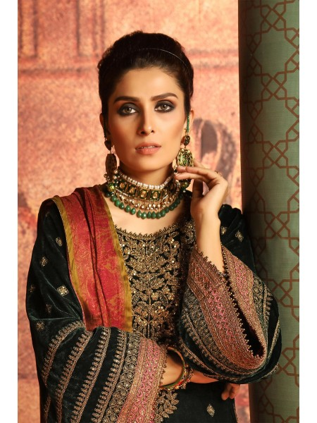 Alkaram Studio Festive 2 Piece Embroidered Suit with Satin Silk Dupatta FC-W9E-19-Green