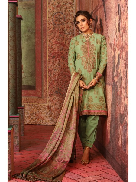 Alkaram Studio Festive 3 Piece Embroidered Suit with Cotton Silk Dupatta FC-W3B-19-Green
