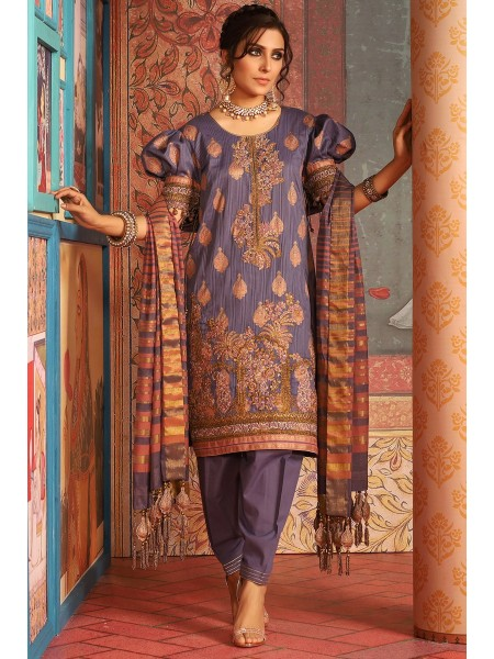 Alkaram Studio Festive 3 Piece Embroidered Suit with Jacquard Dupatta FC-W6C-19-Purple