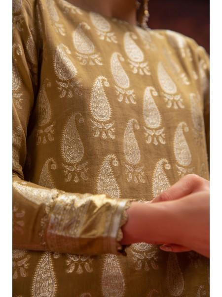 Alkaram Studio Festive Printed Woven Shirt FC-C6C-19-Beige