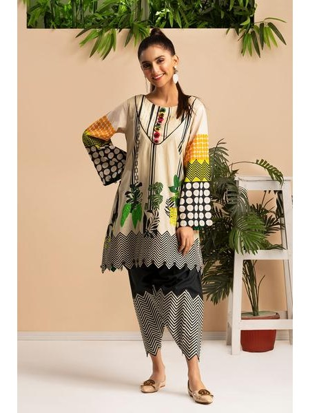 By The Way Unstitched Winter Collection Foliage grid WRU0011-REG-WHT