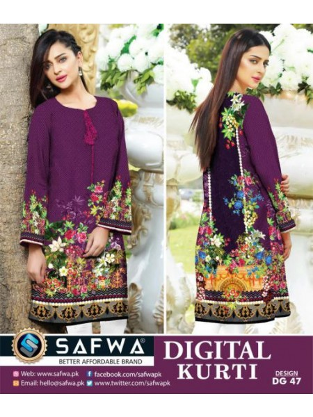 DG 47- SAFWA DIGITAL COTTON PRINT KURTI COLLECTION -SHIRT KURTI KAMEEZ