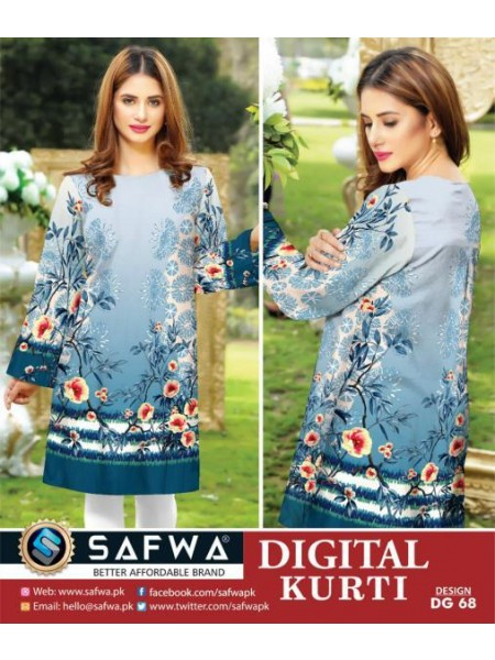 DG 68- SAFWA DIGITAL COTTON PRINT KURTI COLLECTION -SHIRT KURTI KAMEEZ