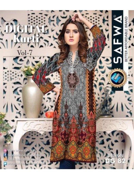 DG 82- SAFWA DIGITAL COTTON PRINT KURTI COLLECTION -SHIRT KURTI KAMEEZ