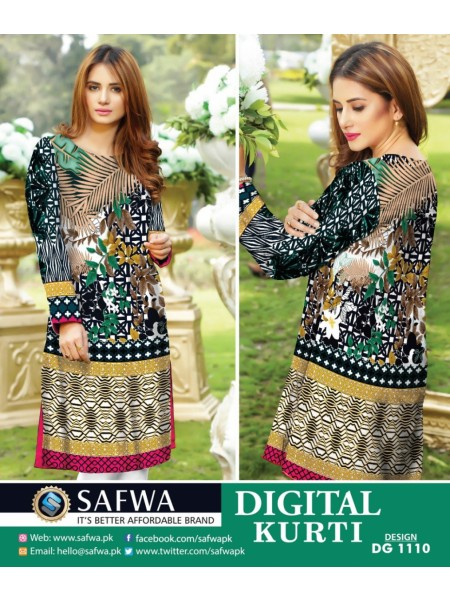 DG1110- SAFWA DIGITAL COTTON PRINT KURTI COLLECTION -SHIRT KURTI KAMEEZ