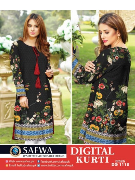 DG1118- SAFWA DIGITAL COTTON PRINT KURTI COLLECTION -SHIRT KURTI KAMEEZ