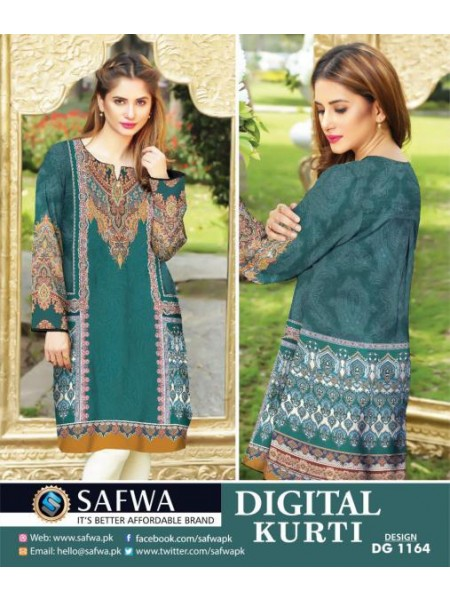 DG1164 Medium - SAFWA DIGITAL COTTON PRINT STITCH KURTI COLLECTION -SHIRT KURTI KAMEEZ