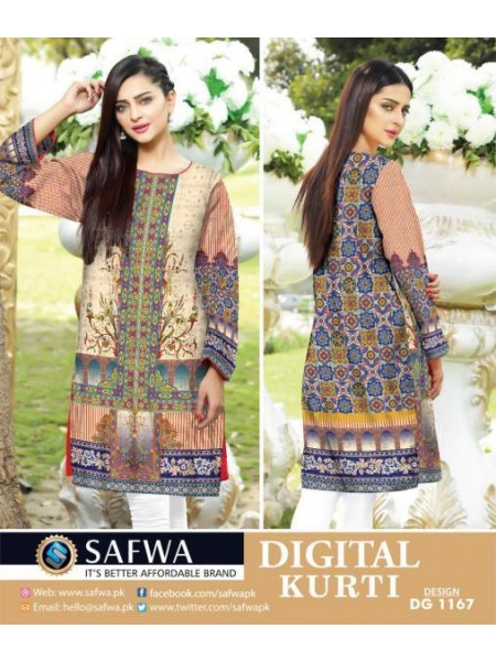 DG1167 Medium - SAFWA DIGITAL COTTON PRINT STITCH KURTI COLLECTION -SHIRT KURTI KAMEEZ