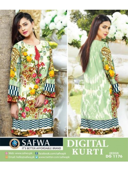 DG1176- SAFWA DIGITAL COTTON PRINT KURTI COLLECTION -SHIRT KURTI KAMEEZ