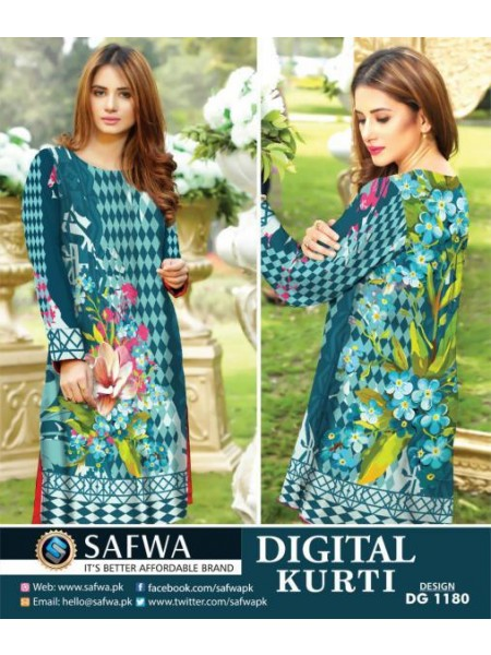 DG1180- SAFWA DIGITAL COTTON PRINT KURTI COLLECTION -SHIRT KURTI KAMEEZ