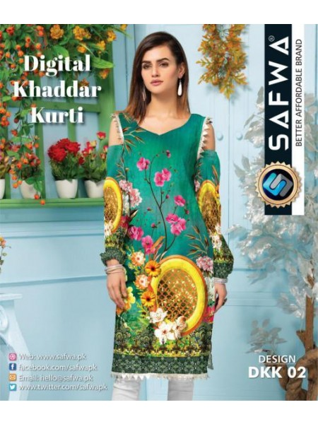 DKK 02- SAFWA DIGITAL KHADDAR -PRINT KURTI COLLECTION - SHIRT| KURTI | KAMEEZ