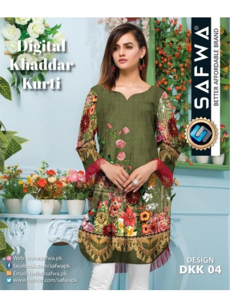 DKK 04- SAFWA DIGITAL KHADDAR -PRINT KURTI COLLECTION - SHIRT| KURTI | KAMEEZ