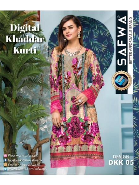 DKK 05- SAFWA DIGITAL KHADDAR -PRINT KURTI COLLECTION - SHIRT| KURTI | KAMEEZ