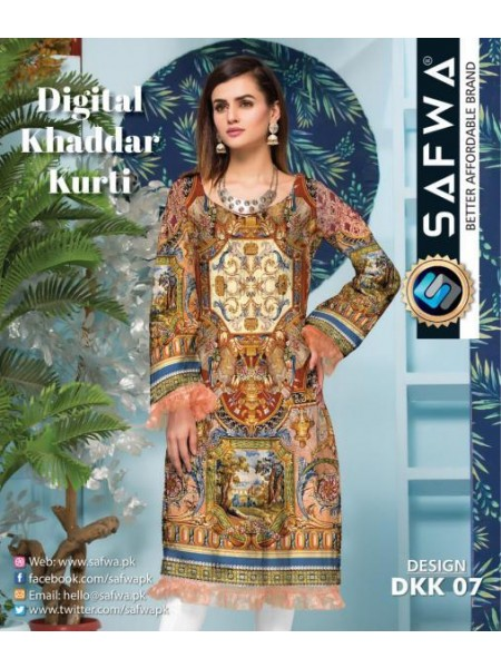 DKK 07- SAFWA DIGITAL KHADDAR -PRINT KURTI COLLECTION - SHIRT| KURTI | KAMEEZ