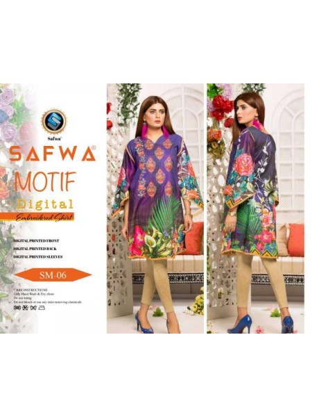 DSM 06 SAFWA MOTIF COLLECTION- DIGITAL EMBROIDERY COTTON SHIRT KURTI KAMEEZ