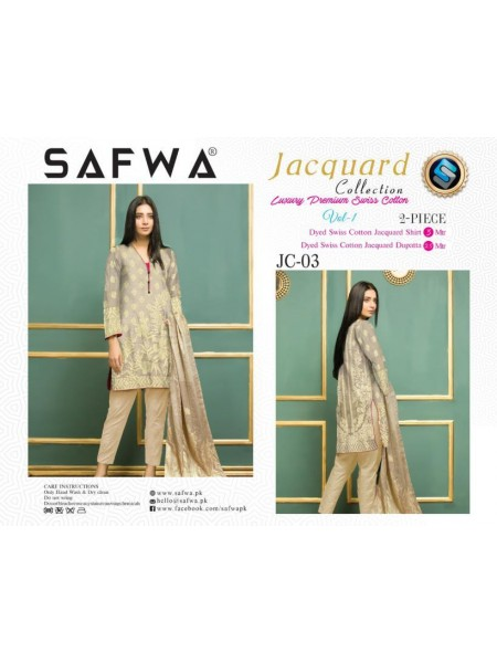 JC-03-SAFWA SWISS COTTON-JACQUARD COLLECTION- PRINTED -2 PIECE DRESS