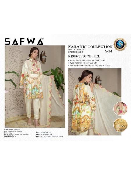 KR09 - SAFWA DIGITAL KARANDI 3 PIECE COLLECTION-VOL 1 2019 -SHIRT| TROUSER| DUPATTA