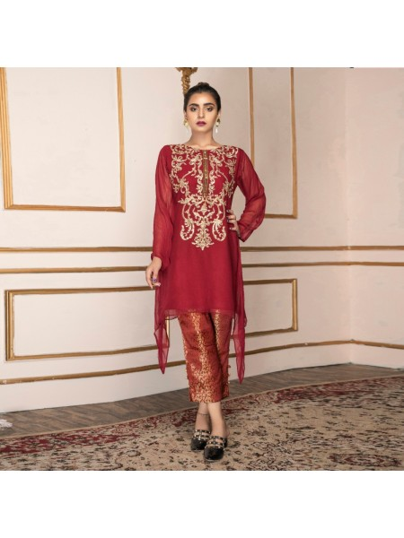 Mannat Clothing Deep Red Fancy MC-040
