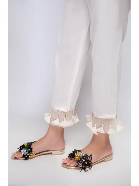 Mannat Clothing White tussled Straight Pant MC-052