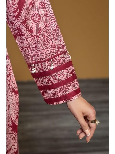 Nishat Linen Winter19 Unstitched 41901023-Karandi Embellished Shawl Red Printed 3PC