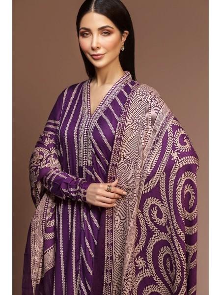 Nishat Linen Winter19 Unstitched 41901041-Linen Silk Wool Purple Printed 3PC