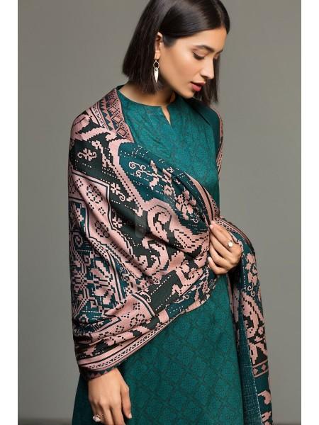 Nishat Linen Winter19 Unstitched 41901044-Linen Silk Wool Green Printed 3PC