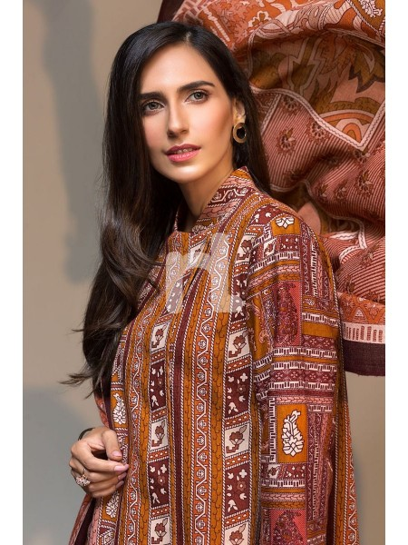 Nishat Linen Winter19 Unstitched 41901062-Karandi Mix Wool Peach Printed 3PC