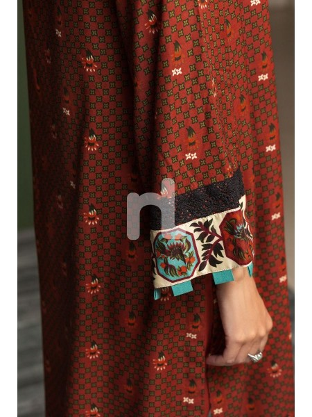Nishat Linen Winter19 Unstitched 41901069-Linen Mix Wool Red Printed 3PC
