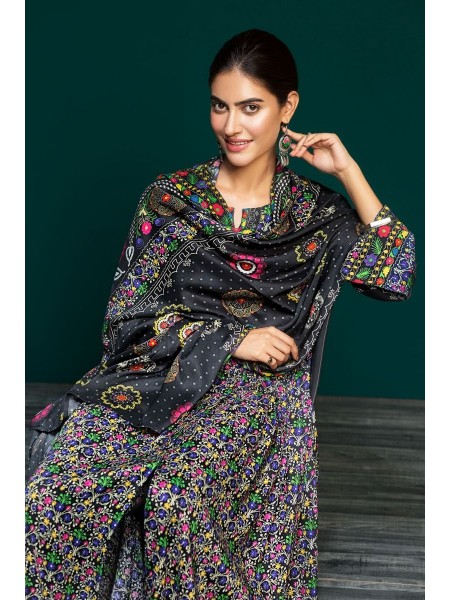 Nishat Linen Winter19 Unstitched 41901087-Linen Black Digital Printed 3PC