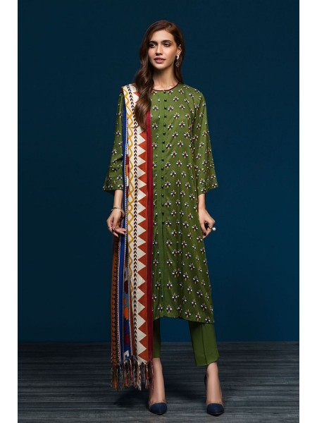 Nishat Linen Winter19 Unstitched 41901092-Linen Shawl Green Printed 3PC