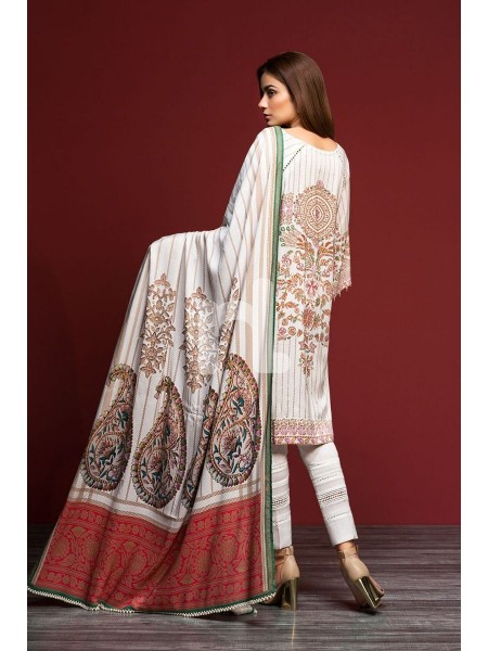 Nishat Linen Winter19 Unstitched 41901107-Linen White Digital Printed 3PC