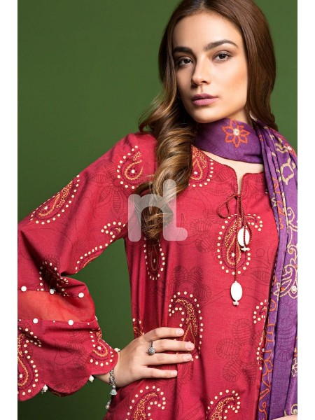 Nishat Linen Winter19 Unstitched 41901115-Khaddar Karandi Red Printed Embroidered 3PC