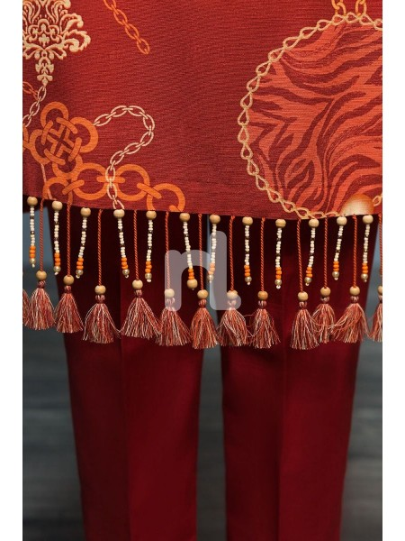 Nishat Linen Winter19 Unstitched 41901121-Khaddar Karandi Orange Digital Printed 3PC