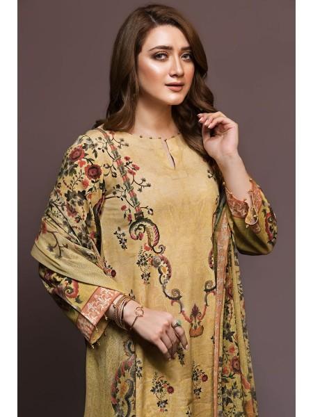 Nishat Linen Winter19 Unstitched 41901134-Cotton Karandi Cotton Net Yellow Digital Printed 2PC