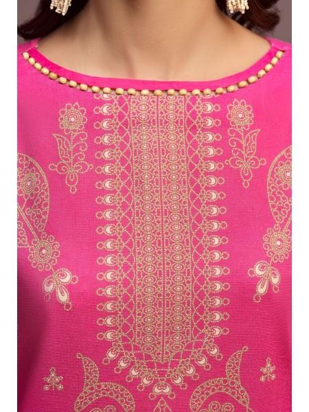 Nishat Linen Winter19 Unstitched 41901135-Cotton Karandi Cotton Net Pink Digital Printed 2PC