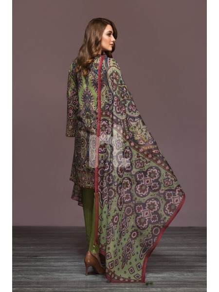 Nishat Linen Winter19 Unstitched 41901136-Cotton Karandi Cotton Net Green Digital Printed 2PC