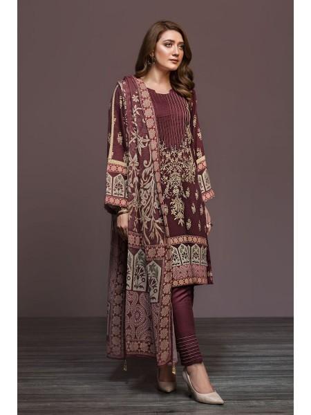 Nishat Linen Winter19 Unstitched 41901137-Cotton Karandi Cotton Net Maroon Digital Printed 2PC