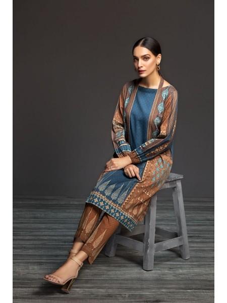 Nishat Linen Winter19 Unstitched 41901143-Cotton Karandi Brown Digital Printed 2PC