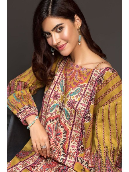 Nishat Linen Winter19 Unstitched 41901150-Cotton Karandi Mustard Digital Printed 2PC
